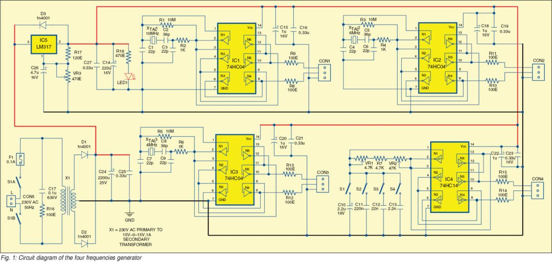 Electronics Projects: Four Frequencies Generator