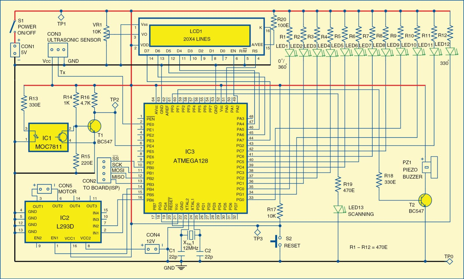 Fig. 2: Schematic diagram of the ultrasonic radar model using microcontroller ATmega128