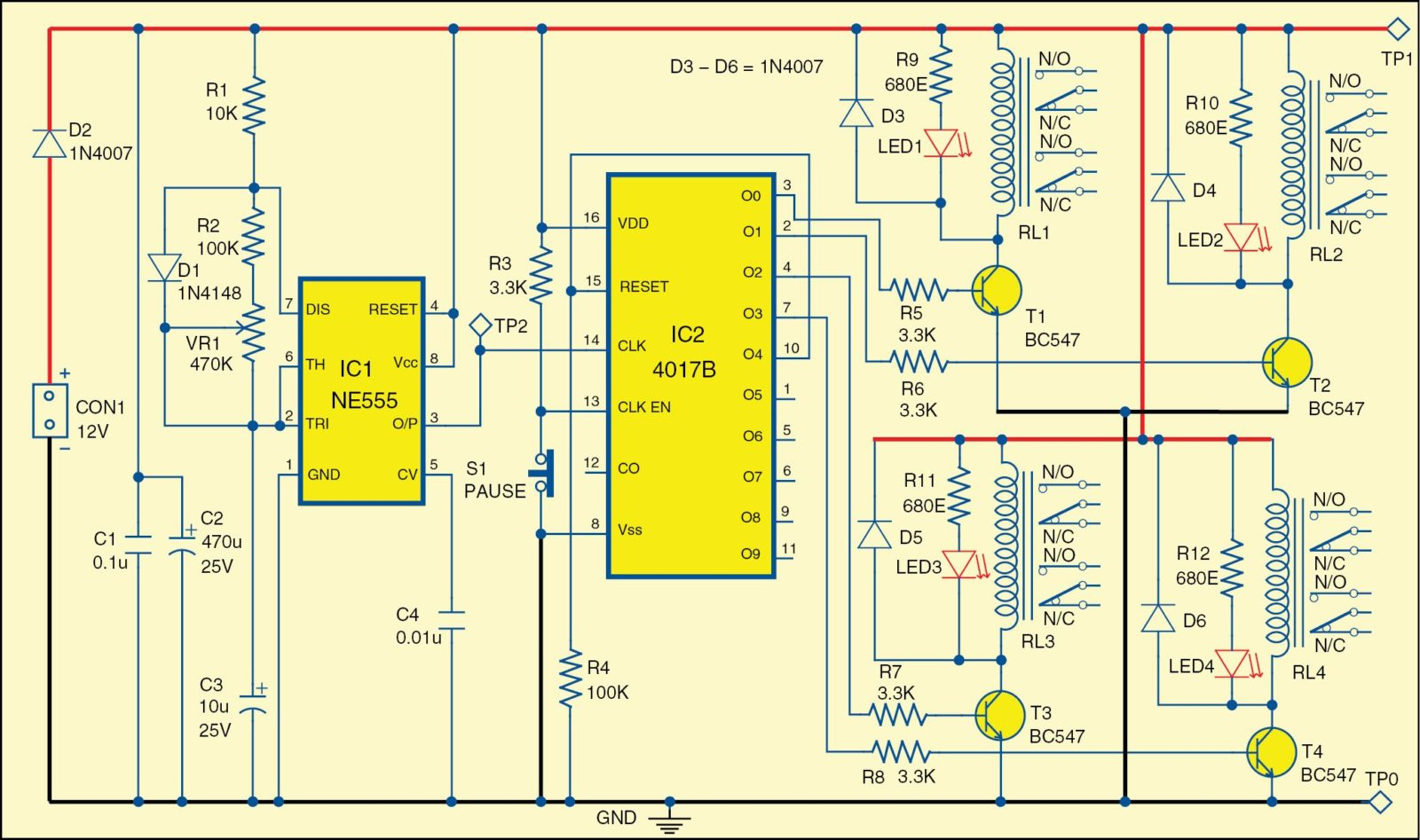 Electronics Projects Four Channel Video And Audio Sequencer Electrical Mini Circuits 1 Circuit Diagram Of The