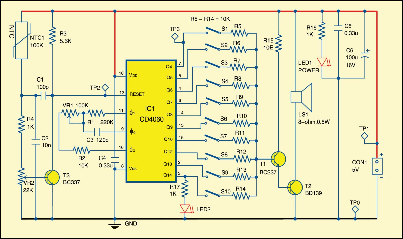 Fig. 1: Circuit diagram of multi-tone configurable alarm