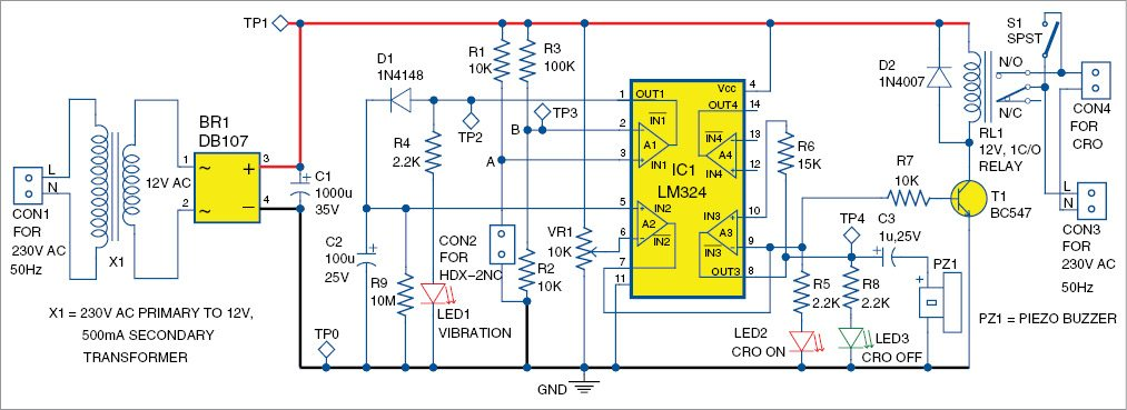 Fig. 3: Circuit diagram of the vibration activated smart CRO probe