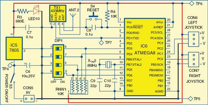 Fig. 4: Circuit diagram of the main module (robot)