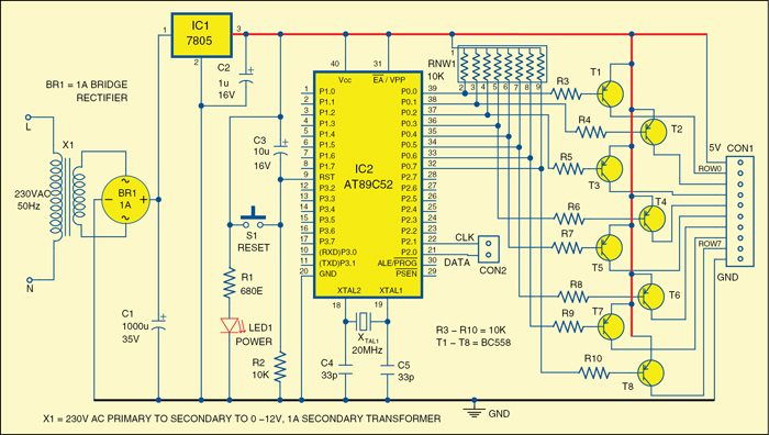 LED Scrolling Display | Full Circuit Diagram with Source Code on exploded view diagram, system diagram, process diagram, problem solving diagram, carm diagram, flow diagram, line diagram, network diagram, sequence diagram, critical mass diagram, isometric diagram, wiring diagram, block diagram, cutaway diagram, concept diagram, schema diagram, yed graph diagram, electric current diagram, circuit diagram,