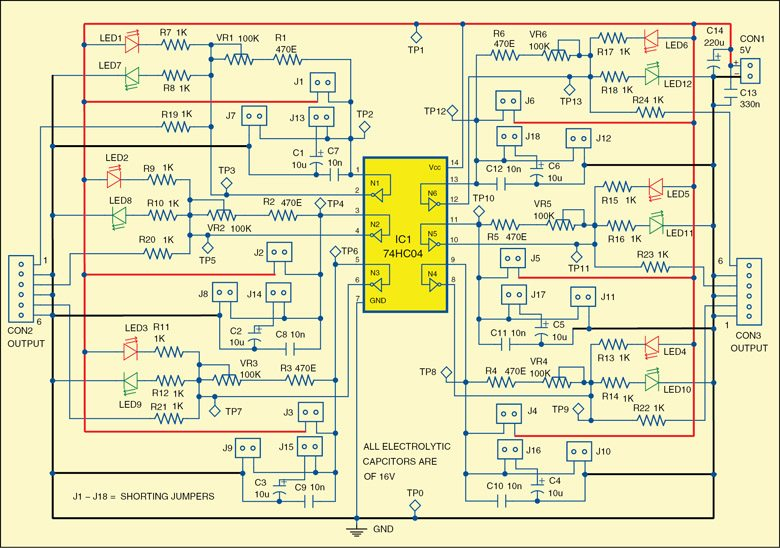 Fig. 1: Circuit diagram of the simple tester for 74xx04 and 74xx14 ICs