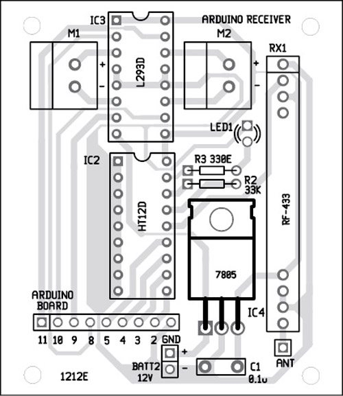Fig. 7: Component layout for the PCB in Fig. 6