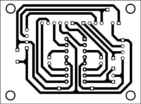 Fig. 6: Actual size, single-side PCB layout for the phone-controlled robot