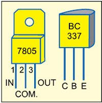 Fig. 3: Pin configurations of 7805 and BC337
