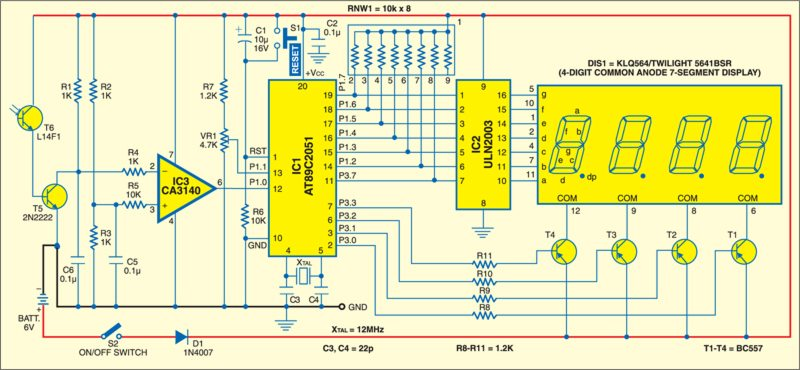 Fig. 1: Circuit of microcontroller based tachometer