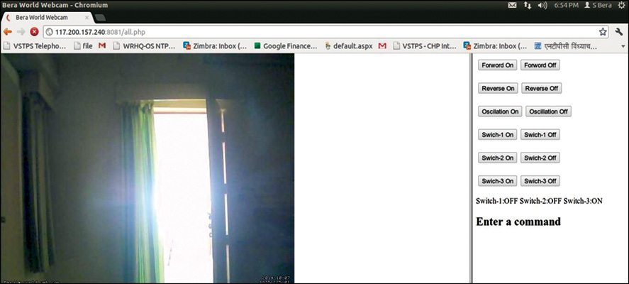 Fig. 3: Combined browser window for image being captured and stepper motor control panel