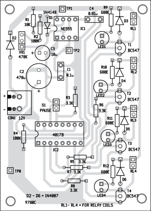 Fig. 3: Component layout of the PCB