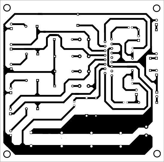 Fig. 3: Actual-size PCB pattern of the 4-channel multi-mode audio amplifier