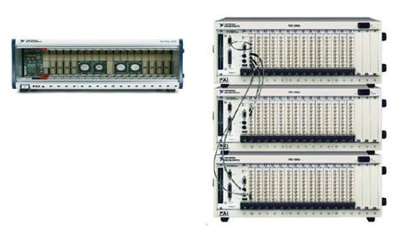 Fig. 2: Empty backplane of an individual PXI chassis, next to a stack of three chassis that are synchronised together