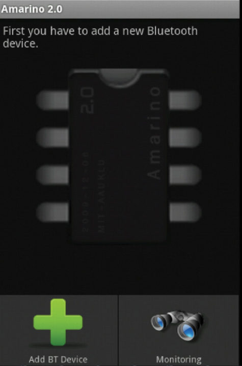 Fig. 2: Amarino app homescreen