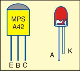 Fig. 2: Pin configurations of MPSA42 and LED