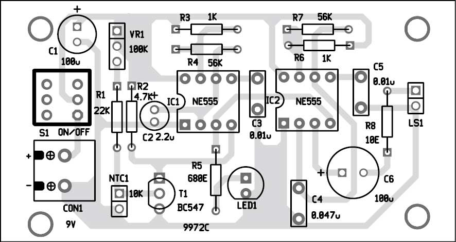 Fig. 3: Component layout of the PCB shown in Fig. 2