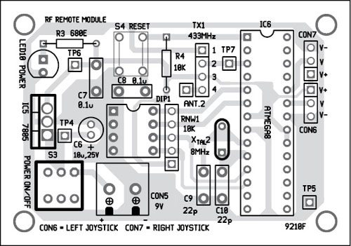 Fig. 9: Component layout of the PCB of the RF remote modul
