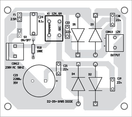Fig. 6: Component layout of the power supply PCB