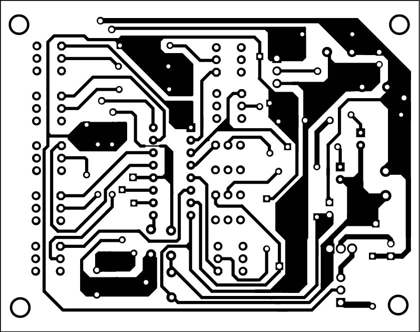 Fig. 2: An actual-size, single-side PCB for multi-tone configurable alarm
