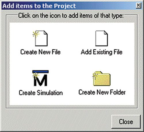Fig. 4: Add items to the Project window
