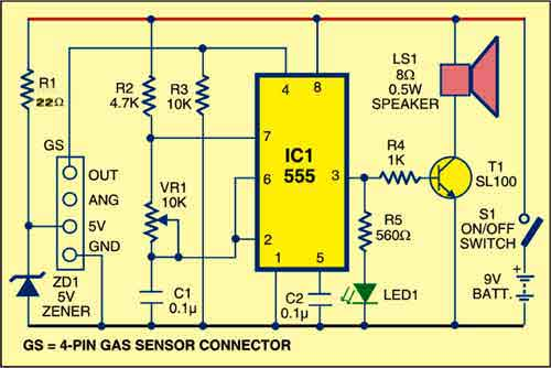 Fig. 1: Circuit for gas leakage alarm