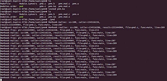 Fig. 1: Screenshot of the program output