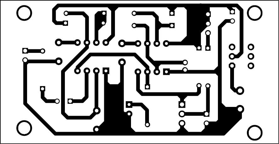 Fig. 2: Actual-size PCB pattern of the circuit for the fire alarm