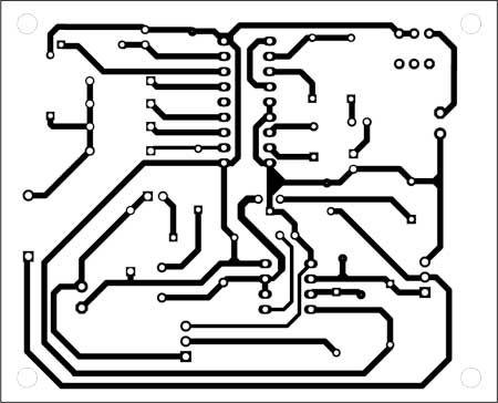 Fig. 3: An actual-size, single-side PCB for cellphone-based remote controller