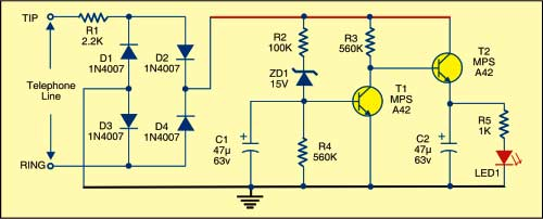 Fig. 1: Telephone line indicator circuit