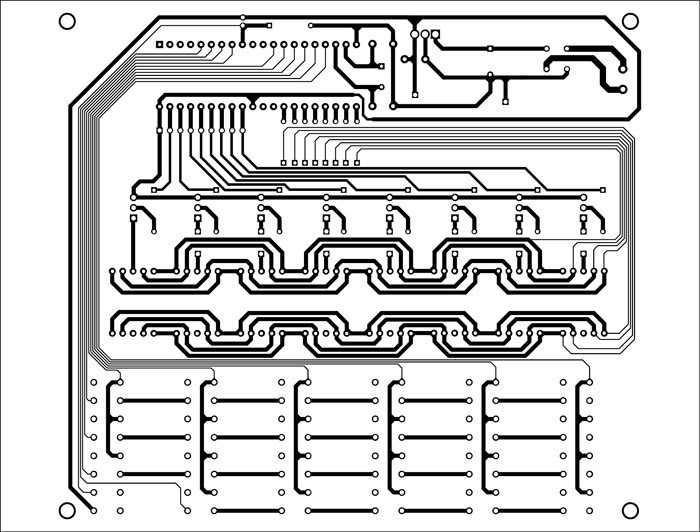 Fig. 3: An actual-size PCB layout for the celestial weight calculator