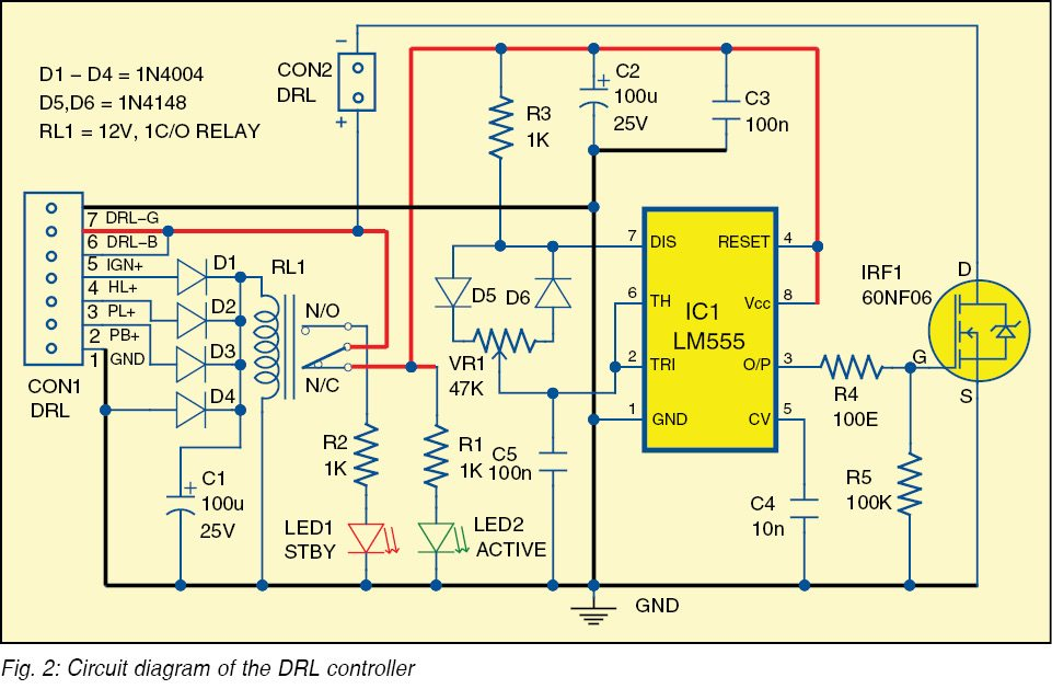 electronics projects daytime running lights controller connect drl b and drl g wires from the circuit directly to the drls at the bumper the circuit activates when it senses ignition voltage