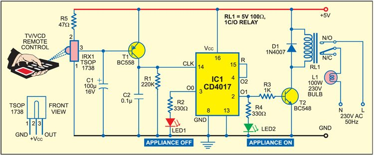 Remote Control for Home Appliances Full Circuit Diagram with