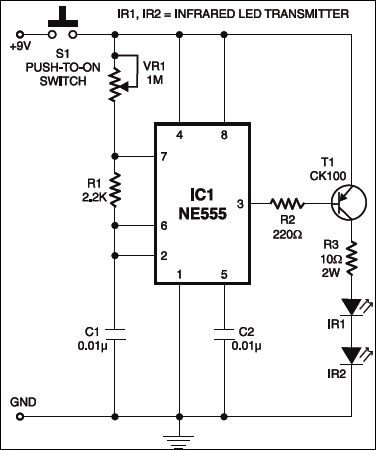 Infrared Remote Controlled Timer: IR transmitter section