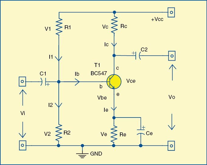Fig. 1: Circuit diagram of the single-stage transistor amplifier
