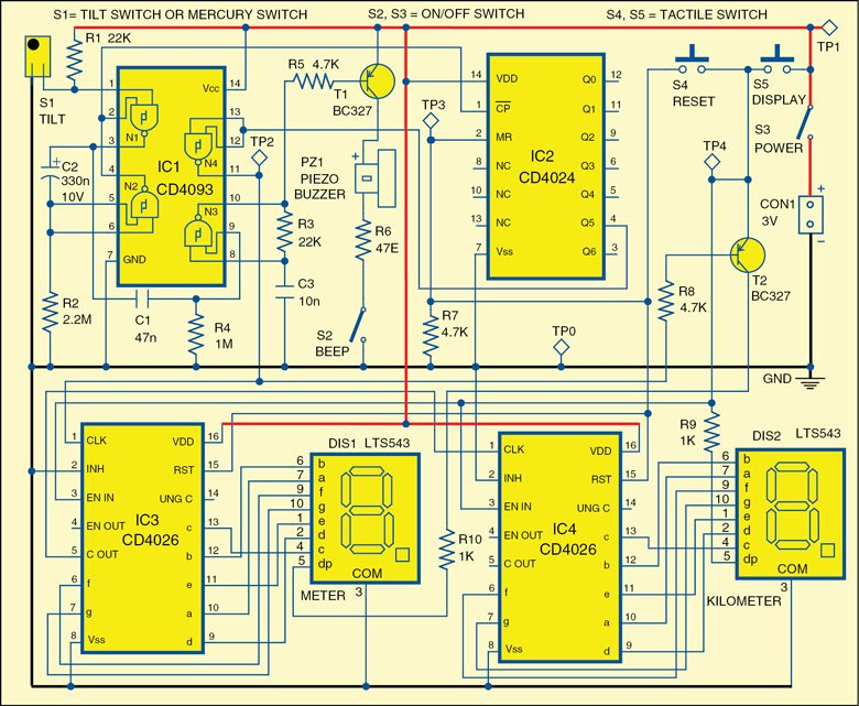 Fig. 1: Circuit diagram of the distance counter