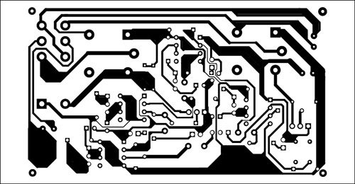 Fig. 3: An actual-size, single-side PCB for the sequential timer for DC motor control