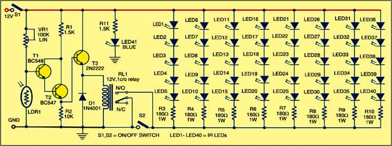 Fig. 1: Circuit for infrared illuminator
