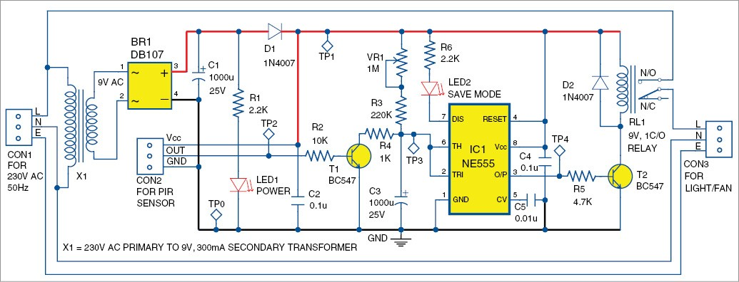Fig. 2: Circuit diagram of the PIR sensor based power saver