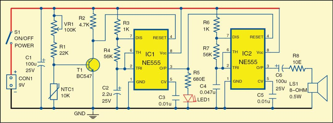 Fig. 1: Circuit diagram of the fire alarm