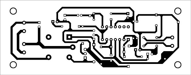 Fig. 4: Actual-size PCB pattern of the vibration-activated smart CRO probe