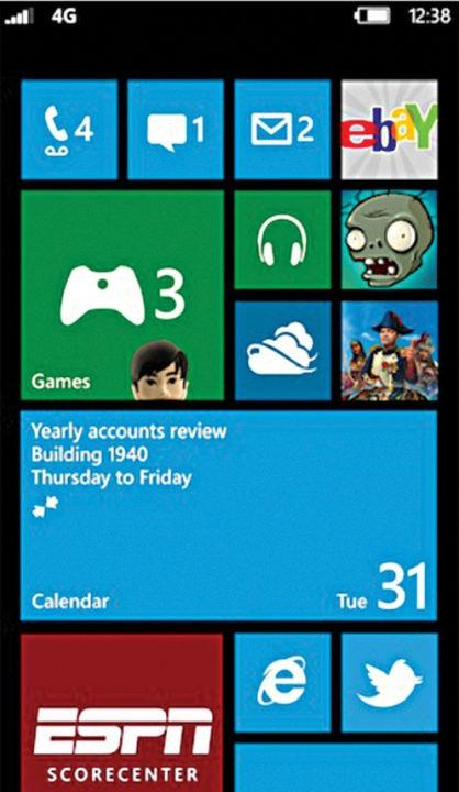 Fig. 11: Windows Phone 8 Home screen