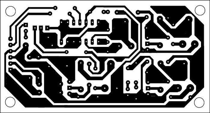 Fig. 2: An actual-size, single-side PCB for the sinewave inverter