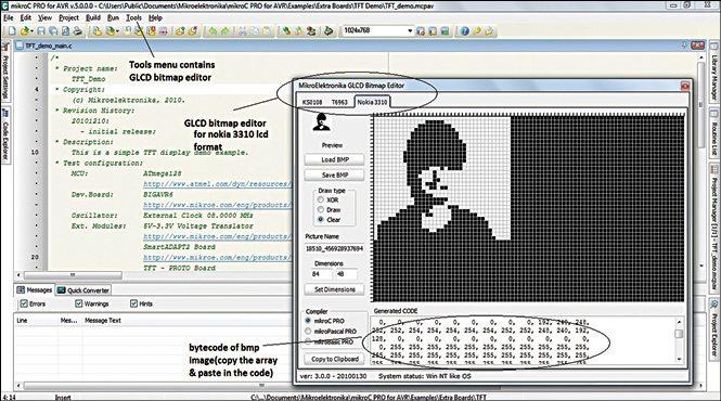 Fig. 3: GLCD bitmap editor