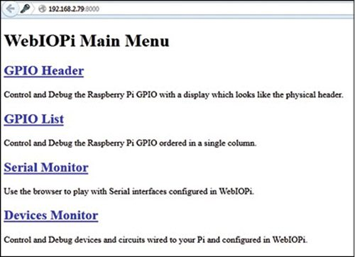 Fig. 6: WebIOPi main menu