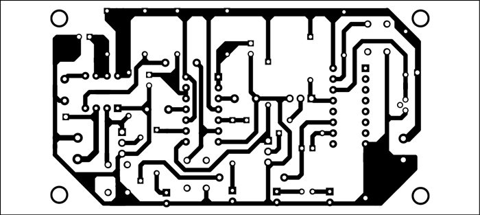 Fig. 3: An actual-size PCB layout for the laser based security lock circuit