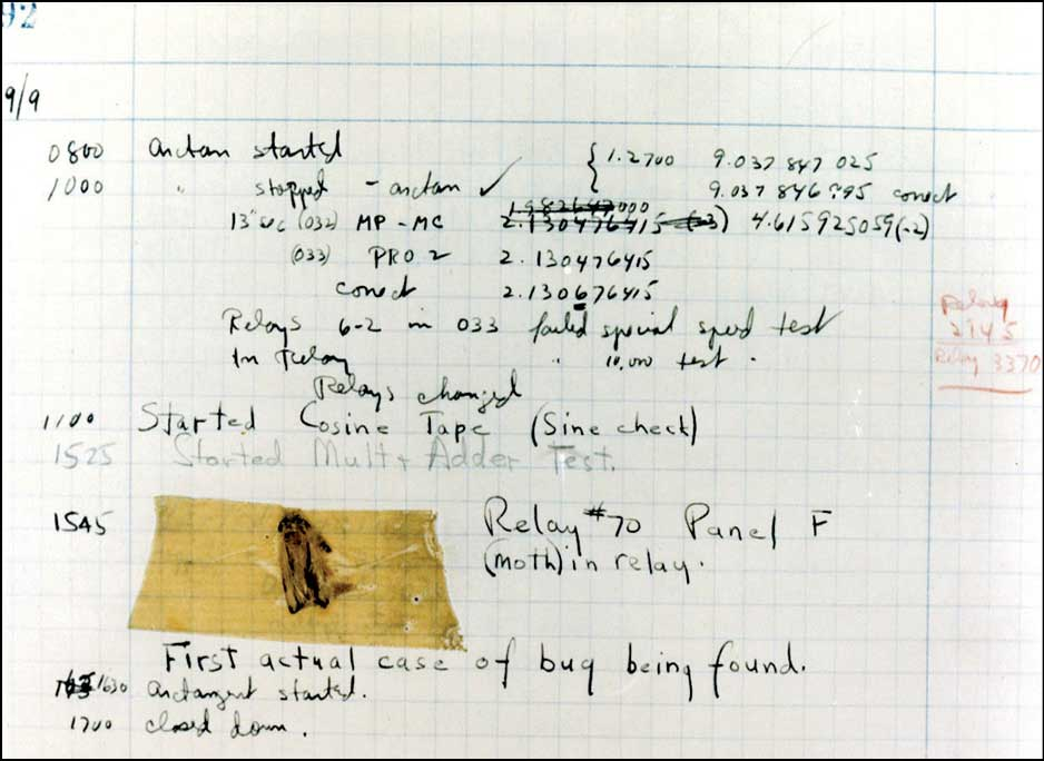 Remains of the moth found in the group's log book at the Smithsonian Institution's National Museum of American History in Washington, DC