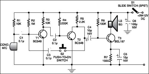 low cost intercom circuit detailed circuit diagram available rh electronicsforu com