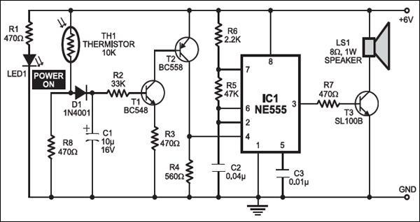 Fire Alarm Using Thermistor | Full Circuit Diagram Available