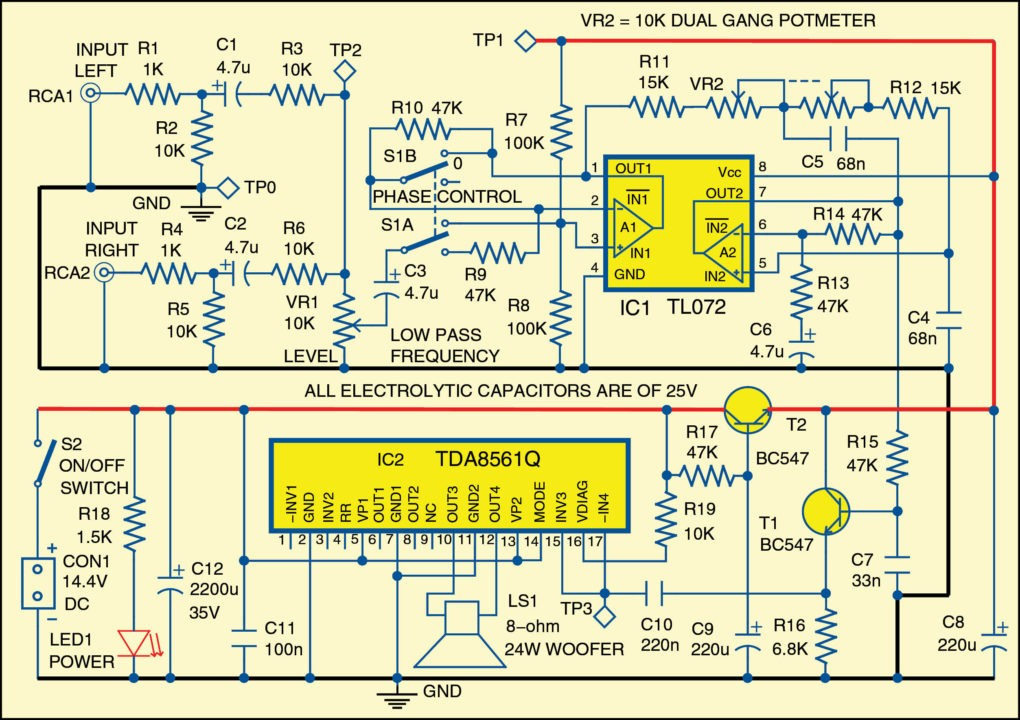 subwoofer for cars electronics for you rh electronicsforu com subwoofer circuit diagram using ic 4558 subwoofer circuit diagrams pdf