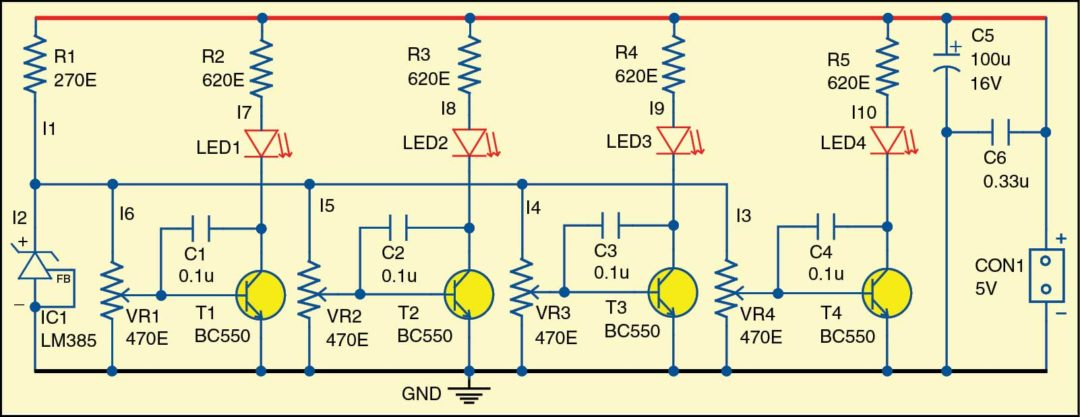 Fig. 1: Circuit diagram of the visual thermometer