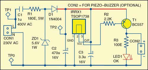 Fig. 1: Circuit diagram of the remote control tester